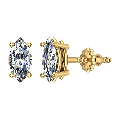 1.00 ct tw J I1 Diamond Stud Earrings Marquise Cut Earth-mined 14K Yellow Gold Screw Back - Marquise Cut Diamond Earrings
