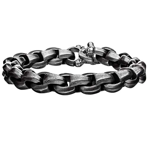 Tribal Hollywood Bare Bones Antique Gunmetal Round Box Link Mens Bracelet with ()