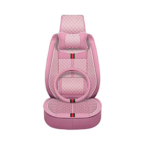 TD Car Seat Cover Fashion Car Seat Four Seasons Universal All Surrounded by Seat Cover Fabric Seat Cushion (Color : Pink) Comfortable (Color : Pink)