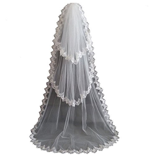 Dress Tier 3 - AliceHouse Women's 3T 3 Tier Lace Chapel Bridal Wedding Veils Cathedral 11055 White
