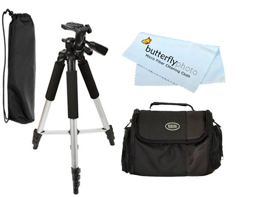 Price comparison product image Tripod & Carrying Case Kit Exclusive For OLYMPUS SP-500 SP-550 SP-570 C-5060 C-7070 E10 E20N C-5000 C-8080 E-1 EVOLT E-330 E-300 E-420 E-310 E-510 E-500 E-620 E-450 E-3 FE-110 FE-120 Includes 57 Inch TR60N Tripod & Carrying Case