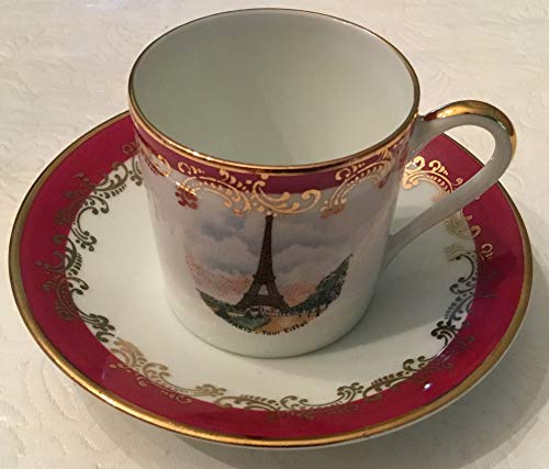 Vintage Limoges Eiffel Tower Paris France Mini Teacup & Saucer ()