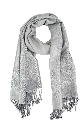 (Paskmlna Border Pattern Double Layered Reversible Woven Pashmina Shawl Scarf Wrap Stole (003#26silver/grey))
