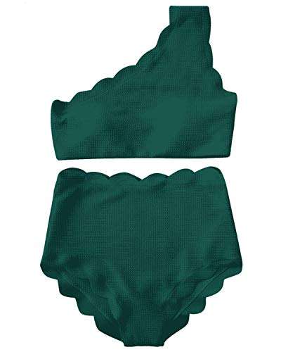 High Waisted Swimsuit Two Piece Bikini Set Scalloped Vintage Women Off Shoulder Elastic Swimwear