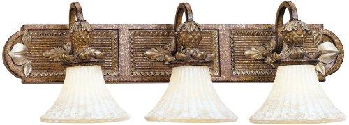 Livex Lighting 8463-57 Savannah 3 Light Venetian Patina Vanity Bath with Vintage carved Scavo Glass