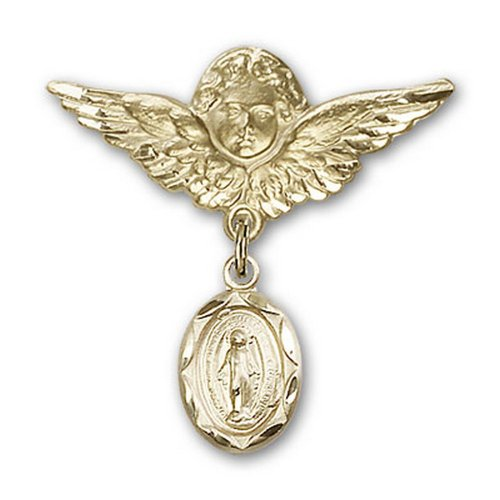Icecarats Or Bijoux De Créateurs Rempli Broches Badge Miraculeuse Charme D'Ange 1 1/8 X 1 1/8