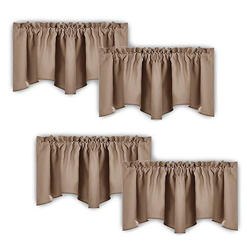 Rod Curtain Set 4 - NICETOWN Room Darkening Cappuccino Curtain Valances - Solid Home Fashion 52-inch by 18-inch Rod Pocket Valance Curtain Panels for Small Window, Short Drapes/Draperies, Platinum, Set of 4 Pieces