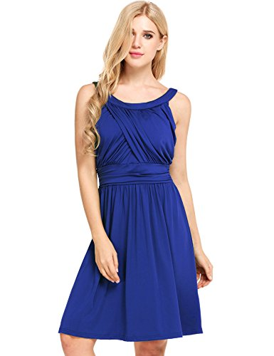 Beyove Women's Elegant O Neck Ruched Bust Fit-and-Flare Knee Length Evening Dress(Dark Blue,L) Knee Length Evening Gown