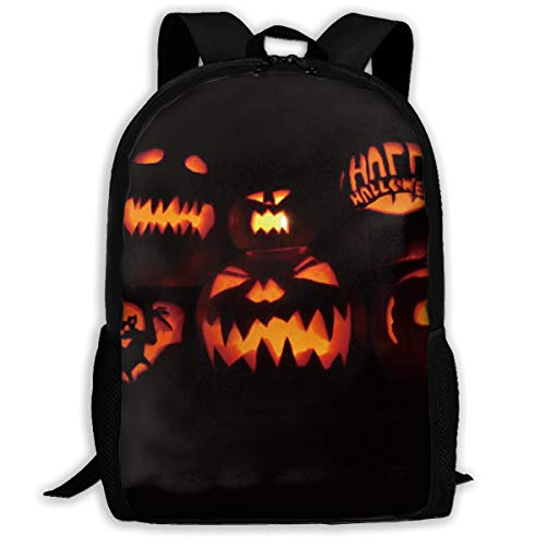 (Halloween Happy Pumpkin Devil Skull Bat Adult Travel Backpack, College School Daypack,rucksack, Laptop)