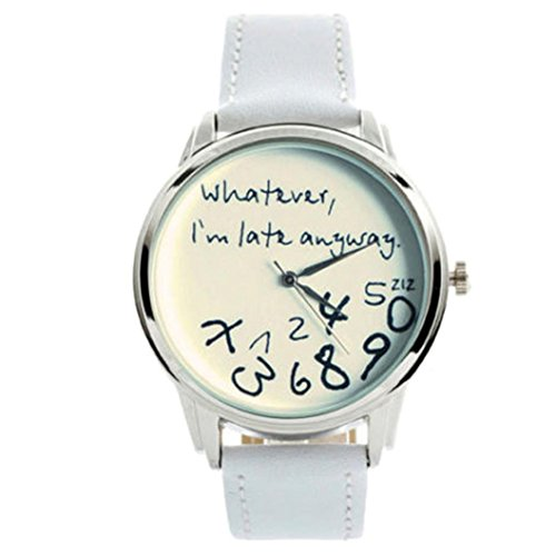 Willsa Women Sports Leather Watch Simple Letter Printed Design Wrist Watch (White)