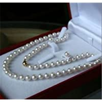 wanmanee 8MM White Akoya Shell Pearl Necklace + Earring Set AAA 18