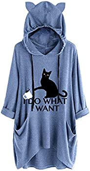 Womens Print Cat Ear Hooded Long Sleeves Pocket Irregular Top Blouse Shirt