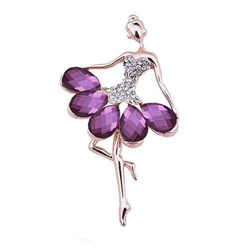 """Gold Tone Vintage Fancy """"Ballet Girl"""" Tear Drop Crystal Rhinestone Brooch Pin for Women (Purple Dancing Girl)"""