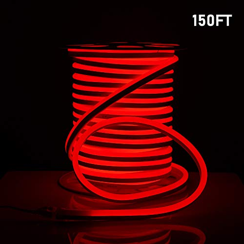 Shine Decor 15x25mm LED Neon Lights, 110V Dimmable Flexible Waterproof Rope Lights, 2835 120LEDs/M, for Indoor Outdoor Commercial Lighting Decoration, Accessories Included, 150ft Red