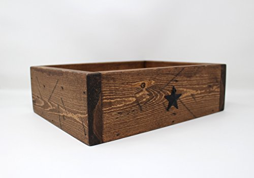 Handmade Medium Distressed Wooden Valet Tray with Metal Barn Stars