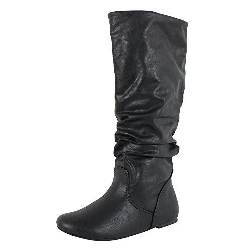Soda Frauen Zuluu Slouchy Kunstleder Knie hohe Wohnungen Stiefel Schwarz 15
