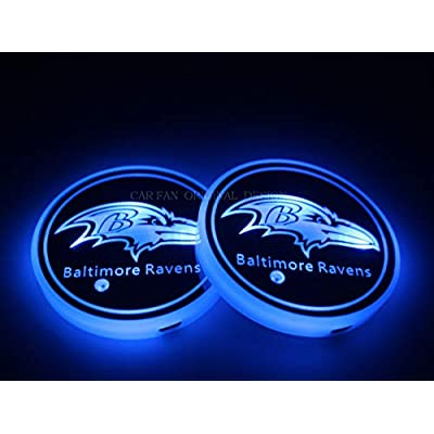 CAR FANS 2pcs fit Team Logo Cup Holder Lights,USB Charging Switchable Colorful Breathing Room Atmosphere Light,Choice of Big Fan of Football (fit Baltimore Ravens): Automotive