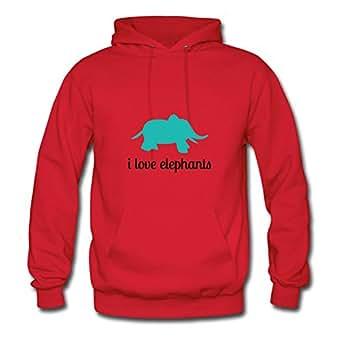 I Love Elephants Ebolam Sweatshirts Informal Women Unique Red