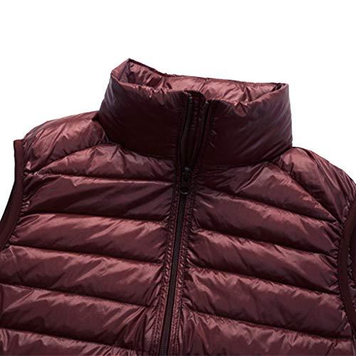 Packable Manteau Red lger vers Homme Hiver Puffer Haut Wine Hommes Le col Gilet Bas l'automne Ptw5q6P