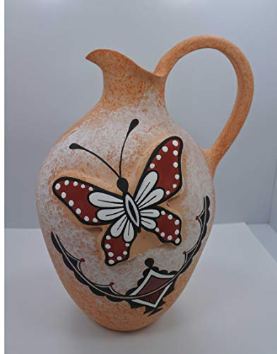 Indian Native Pottery (All Tribe Silver Native American Pottery Hand Painted Butterfly Pot by Tony Lorenzo, Zuni Pueblo)