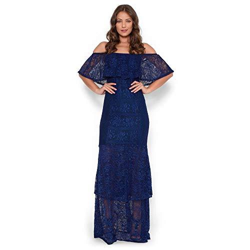 2ac3446f0 Vestido Longo Ciganinha Babados Azul Marinho M ...