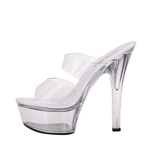 Mujer 38 transpirable 15cm Verano Estopas sandalias Presentador Espectáculo De Cristal Discoteca 39 Modelo Zapatos Moda Transparente Ajunr elegante qXwTRT