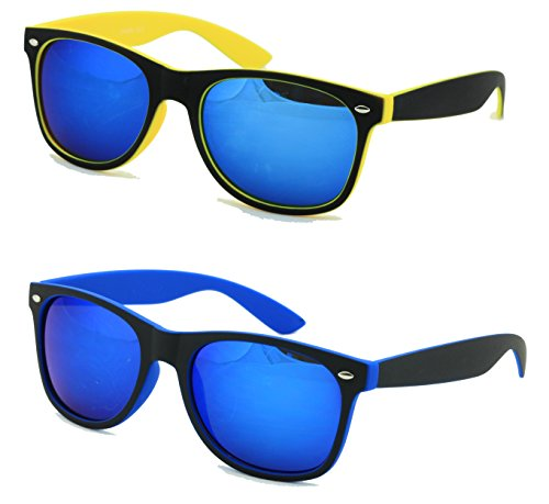 VW Eyewear - 2 Pairs Rubberized Soft 2-Tone Neon Horn-Rimmed Mirror Sunglasses (Blue and - Neon Ray Bans Yellow