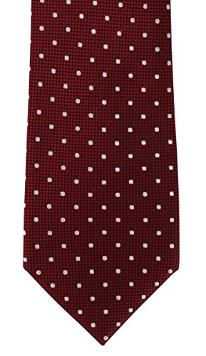Red Traditional Spot Silk Tie by Michelsons of (Spot Woven Silk Mens Tie)