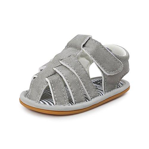 BENHERO Infant Baby Boys Girls Premium Soft Rubber Sole Anti-Slip Summer Prewalker Toddler Sandals (13cm(14-22months), 3315 Grey) Leather Sole Padding