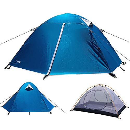 Luxe Tempo 2 Person Tents for Camping Backpacking 3-4 Season 2 Doors 2 Vestibules Blue (Blue-Mesh-Aluminum)