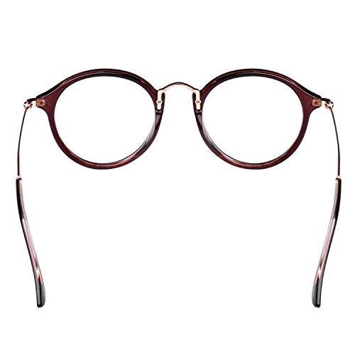 Forepin® Lunettes de Vue Rondes Unisex Cadre Frame Lentille Claire pour Homme et Femme Vintage - Léopard Café
