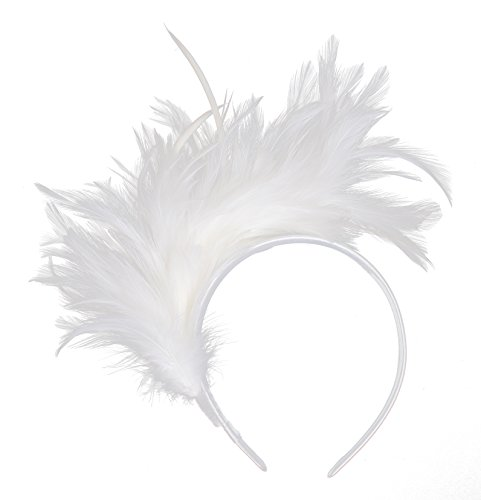 Felizhouse 1920s Fascinator with Feathers Headband for Women Kentucky Derby Wedding Tea Party Headwear (White)]()