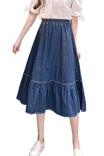 Smalltile t Femmes Grande Taille Jupe en Jeans Mode lgante Plisse Denim Jupes de Party Cocktail Casual Midi Jupe de Plage Bleu Marin