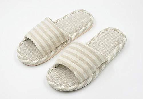 Marron Cliont Chaussons Pour Femmes Home Pantoufles Lin Hommes Ouvert On Douces Et Coton À Slip Bout rZqx6rAwU