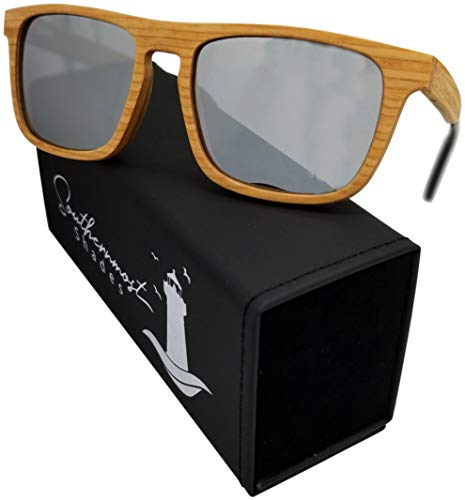 Natural Wood Sunglasses for Men - Wooden Frame - Genuine Polarized Lenses (Cherry Wood - Silver Lenses)