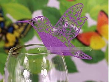 Lot de 50pcs Carte de Verre Marque Place Forme de Oiseau Volant Ajouré Décoration de Table pour Mariage Générique