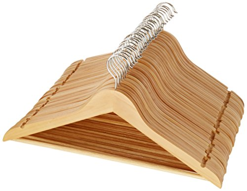 - AmazonBasics Wood Suit Clothes Hangers, 30 Pack, Natural