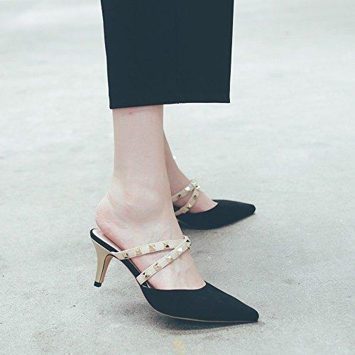 des Sandales Femme 34 DHG à avec Talon avec Mulei des Rivets Chaussures Noir Femme Baotou Pointu Fines Chaussures qIZUHxZY