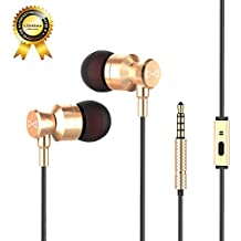 Marsno M1 Wired Metal In Ear Headphones, Noise Isolating Stereo Bass Earphones With Mic,Dynamic Drivers Earbuds Provide Stereo & Crystal Clear Sound (Gold)