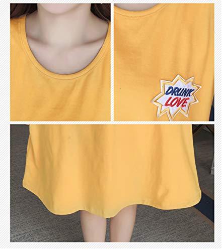 Pigiama senza da Camicia cotone Vestito Donna maniche in Estivo donna Casual Giallo Notte Cotone pigiama U8qHnndw