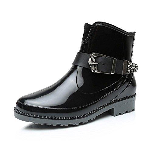 primavera moda Sra. botas de lluvia cargadores de Martin Black