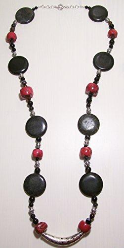 Long Boho Lux Coral Blackstone & Sterling Silver Necklace - Handmade Designer Jewelry - The Porta di Parma Necklace