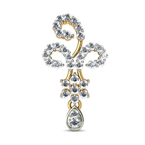 14K Or jaune 1.07carat au total White-diamond (IJ | SI) Pendants d'oreilles