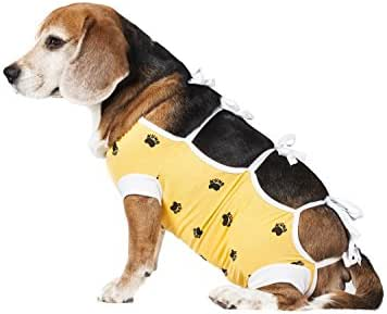 E-Collar Alternative for Cats and Dogs Designed to Protect Abdominal Wounds and Skin Disease. Award Winning and Patented Design Recommended by Veterinarians Worldwide. (XX-Small, Yellow)