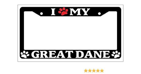 Auto Accessory 398 Paw Chrome License Plate Frame I Heart My German Shepherd