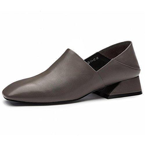 Señoras Mujer Nuevo Zapatillas de moda única Zapatillas perezoso medio Retro grueso medio talón ronda de cabeza de cuero genuino antideslizante de amortiguación Otoño Invierno Partido de Trabajo gray