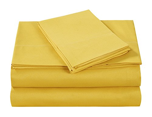 Style Homes 3-Piece Luxury Bed Sheet Set - Ultra Soft Microfiber, Solid Color, Wrinkle & Shrink Resistant, Hypoallergenic - Twin, Spicy Mustard