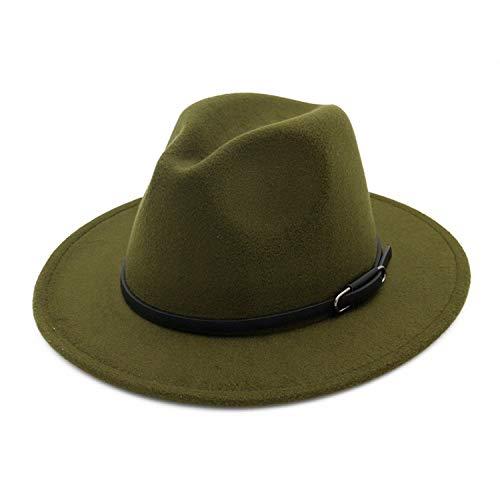 KKONION Women Men Lady Jazz Trilby Hat with Belt Buckle Trend Female Flat Brim Wool Felt Fedoras Hat Army Green