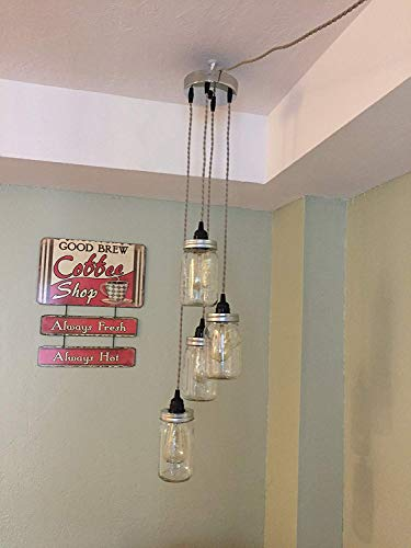 Mason Jar Chandelier Swag Light - NO Hard Wiring!! Just Hang it up and Plug it in!! ()