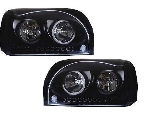 CPW-tm-1996-2009-Freightliner-Century-Black-Headlights-With-Amber-LED-DRL-Day-Light-Turn-Signal-LED-NEW-PAIR